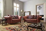Woodland Tan Colour Chesterfield Design Fabric/Suede Sofa Settee Couch 3+2 Seater FREE DELIVERY TO ENGLAND AND WALES ONLY