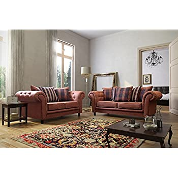 Woodland Tan Colour Chesterfield Design Fabric/Suede Sofa Settee Couch 3+2  Seater FREE