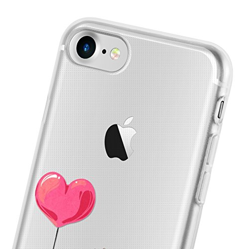 Cover iPhone 8 Cover iPhone 7, JAMMYLIZARD [Sketch] Custodia in Silicone Trasparente Semi Morbido Ultra Slim con Disegno per Apple iPhone 8 e Apple iPhone 7, ALICE SILHOUETTE CARTOON 8
