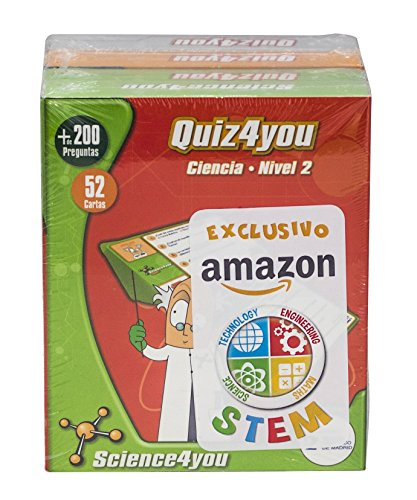 Science4you Pack Exclusivo Amazon 4xQuiz4you Ciencias, Dinosaurios, Cuerpo humano y Cálculo mental
