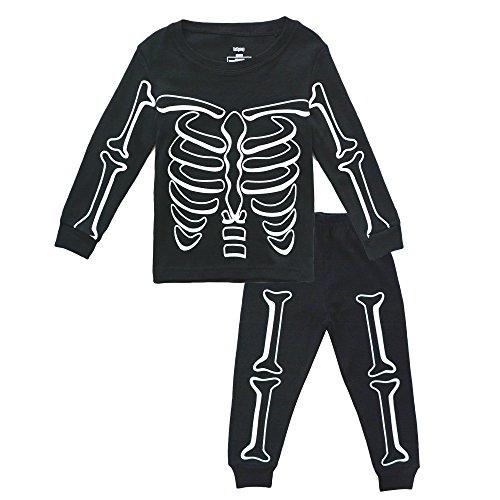 BINIDUCKLING Halloween Pyjama Skelett Schlafanzüge Set