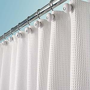mdesign rideau de douche tissu de luxe en coton et en polyester rideau baignoire blanc. Black Bedroom Furniture Sets. Home Design Ideas