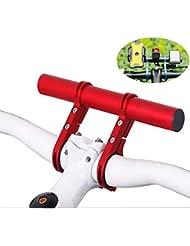 Homeet Fahrrad Extender Halterung Taschenlampe Fahrradlenker Halterungen Zubehör Extender Halterung 20CM, für Fahrrad Licht, Tacho, GPS-Geräte, Sport Kamera oder Smartphones 【Rot Aluminiumlegierung】