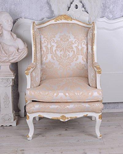 Ohrensessel Barock Salon Sessel Creme Armlehnstuhl Ohrenbackensessel Palazzo Exclusiv