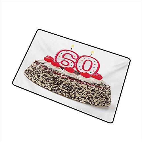 58. Geburtstag Willkommen Fußmatte Happy Party Sweet Cake mit Kerzen Kirschen und leckeren Streuseln Bild Foto Fußmatte ist geruchlos und langlebig, Multicolor Badematte