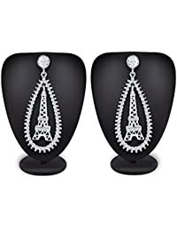 The Luxor Silver Plated American Diamond Eiffel Dangler Earrings For Women,Girls