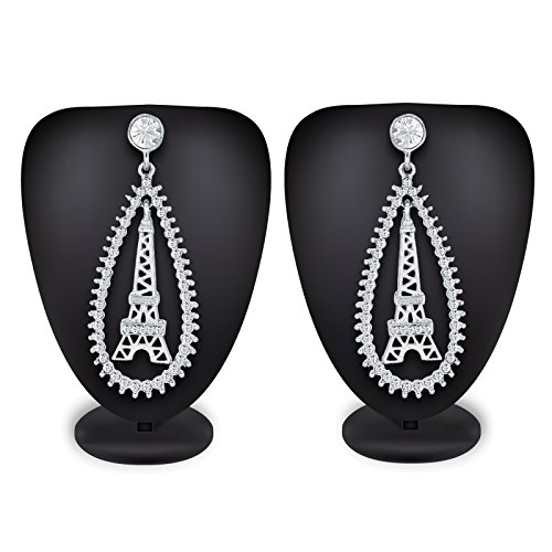The Luxor Silver Plated American Diamond Eiffel Dangler Earrings For Women,Girls