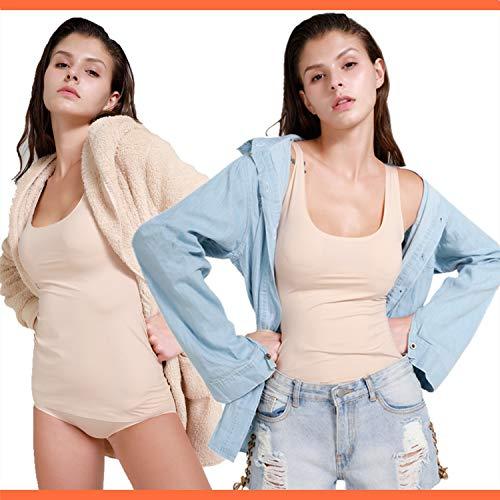 SHAPERIN Figurformende Top Shape Unterhemd Damen Basic Tank Top Shapewear Body Shaper Ärmellose Bauchweg Hemden Dehnbar Trägertop Nachtwäsche (Beige, XL) - 6