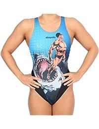Diapolo Super Heroes Human VS. Shark Bañador Comics Colección para Nadar natación Sincronizada Agua Ball thriathlon, Small