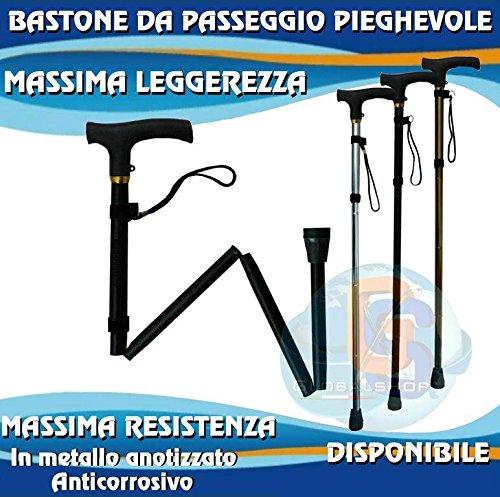 Bastone pieghevole da passeggio lunghezza variabile da 82cm a 95cm impugnatura comoda