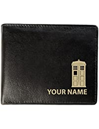 Personalised Mens Real Leather Wallet - Time Travel Design