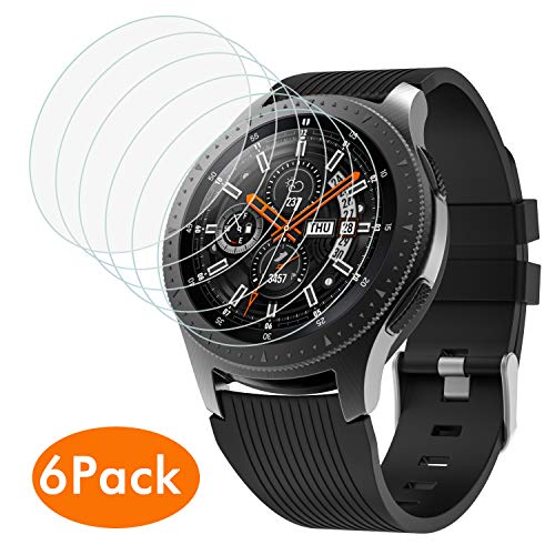 MoKo 6-Pack Fit Samsung Galaxy Watch 46mm/Gear S3 Tempered Glass Screen Protector, Premium 2.5D Arc Edges 9H Hardness HD Clear Shield Protective Anti-Scratch Film - Clear Premium High Quality Screen Protector