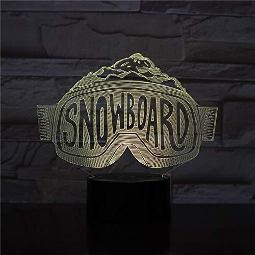 Snowboard Glasform Acryl Acryl Nachtlicht mit Einer Vielzahl von Farben Touch-Fernbedienung Illusion kann Geschenke für Liebhaber senden