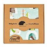 Antiallergische Babydecke - Weiche Premium Kuschelbabydecke zum Spielen und Ertasten (70x100 cm, Coffee - Arctic Life)