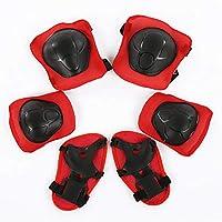 Ogquaton 6 Unids/Set Niños Seguridad Roller Protector Kit Patinaje Superior Engranaje Protector Rodilla Muñeca Codos para Bicicleta de Skate, etc. (Rojo con Negro)