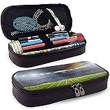 Étui à Crayons en Cuir Hypaethral Rugby Field Pencil Bag Zippered Crayon Cosmétique Maquillage Pochette Sac pour Le Travail Scolaire Bureau