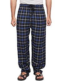 Twist Men's Blue And Black Checked Cotton Pyjama Sleepwear Night Wear With Contrast & Free Shipping