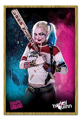 (Suicide Squad Harley Quinn Poster Kork Pinnwand Eichenholz-Rahmen, 96,5x 66cm (ca. 96,5x 66cm))