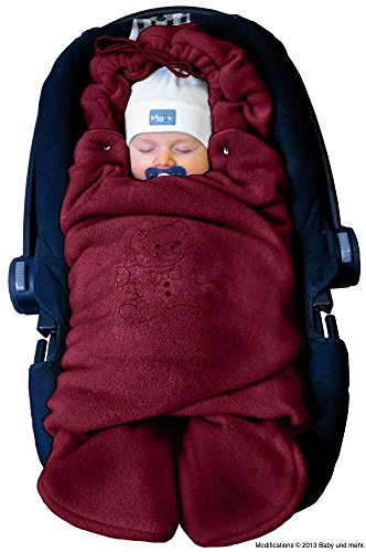 """ByBoom - Baby Winter-Einschlagdecke """"Das Original mit dem Bären"""", Universal für Babyschale, Autositz, z.B. für Maxi-Cosi, Römer, für Kinderwagen, Buggy oder Babybett, Farbe:Bordeaux"""