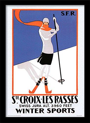 Ste. croix-les Rasses 'Vintage Werbung' Gerahmter Druck, mehrfarbig, 30x 40cm