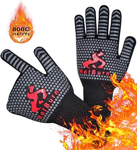 HotBurn Premium Grillhandschuhe Ofenhandschuhe Kochhandschuhe Backhandschuhe | Extrem Hitzebeständig | Handschuhe für Grill Kochen Backen | Extra Lang 35cm | 1 Paar