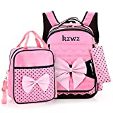 Pinkfishs 3 Pcs School Bag Sets Shoulder Bag Nylon Cross Body Bags Camping Travel Backpack with Pencil Case - Rose