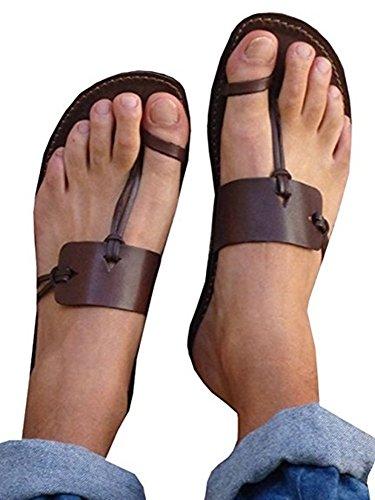 Shelers Damen Clip Zehe Eben Sommer Sandalen Beiläufig Solide Flip Flops Schuhe Hausschuhe (42 EU, Coffee)