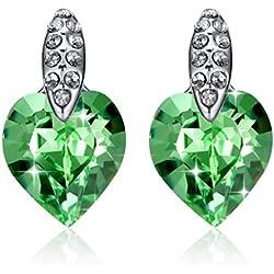 GoSparking verdes cristalinos del corazón del oro blanco 18K plateó los pendientes de la aleación con el cristal austriaco para las mujeres