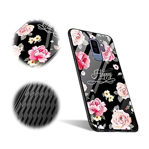 Galaxy S9 Plus Hülle, MingKun Tempered Glass Mirror Case Cover für Samsung Galaxy S9 Plus Schutzhülle Dünnen Spiegel TPU + Glas Pattern Muster Handy Tasche Schale Bumper - Rose Blumen Flower