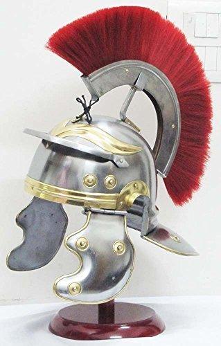 Roman Centurion Medieval Knight Helmet Warrior Armor Metal Red Plume with inner liner by Shiv Shakti - Roman Centurion Armor Kostüm