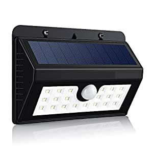 Elepro Super Bright 20 LED Solar Powered Wireless Weatherproof Outdoor Security Wall Light Motion Sensor With 3 Intelligent Modes (Black)
