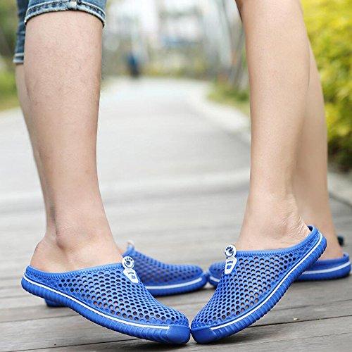 Eastlion Sommer Hollow Breathable Sandalen Loch Mesh Schuhe Paar Strand Hausschuhe Blau