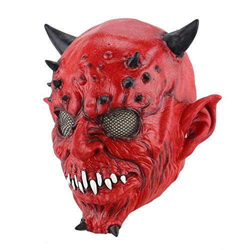 WULIFANG Halloween Horror Maske Teufel Ornamente Simulation Scary Maske Halloween Party Rote Maske