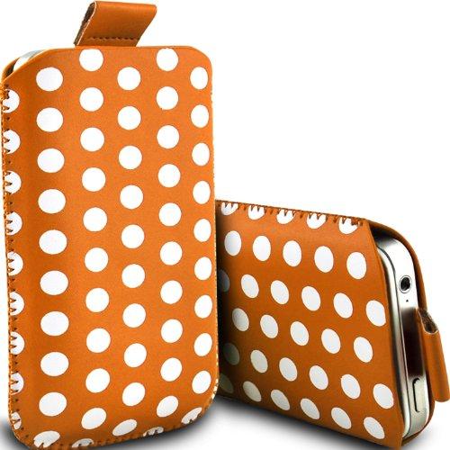 Motorola Moto E XT1022 für Mann aus Schutzhülle Polka Faux Leather Pull Tab Kabel rutscht in der Tasche Tasche Skin Cover Quick Release Fall Orange & Weiß von Aventus * * (Pull-kabel)