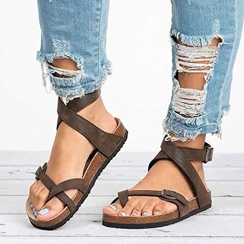 ZHAOHE Frauen Flache Sandalen Kork Einlegesohlen Freizeitschuhe Sommer Flache Schuhe -