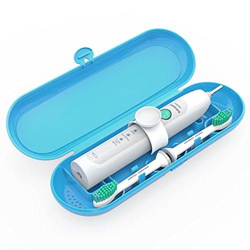 Sonicare Reiseetui Poketech Reise Etui für Philips Sonicare Elektrozahnbürsten 1 Handstück und 2 Aufsteckbürsten Premium – Blau