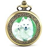 Unendlich U Fashion Akita Hund Retro Handaufzug Mechanische Taschenuhr Hohle Skelett Kettenuhr Pullover Halskette Bronze