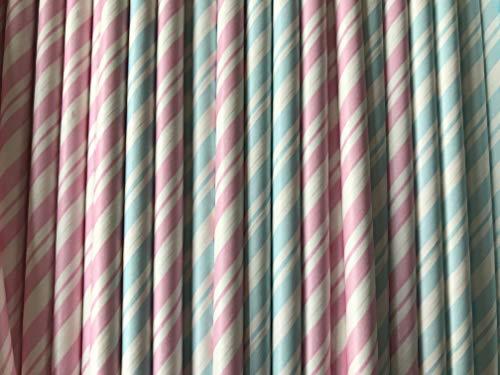 Gender Reveal Trinkhalme aus Papier, 12 Dutzend (144) Pink/Blau