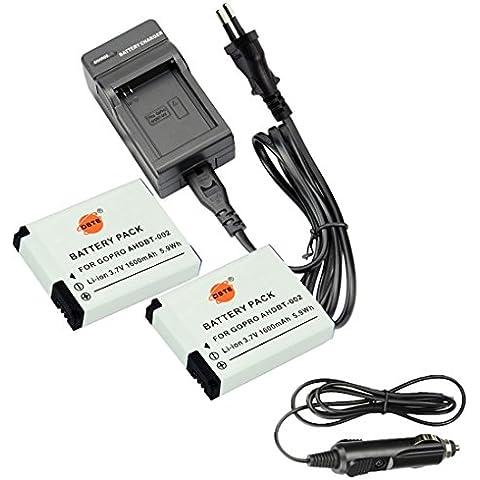 DSTE 2-Pieza Repuesto Batería y DC121E Viaje Cargador kit para GoPro AHDBT-002 HERO GoPro HERO2 como GoPro AHDBT-001 AHDBT-002