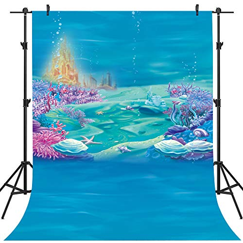 Mehofoto unter dem Meer Hintergrund 5x7ft Vinyl Underwater Mermaid Deep Blue Shell Photo Booth Hintergründe Kindergeburtstag-Party Fotografie Hintergrund