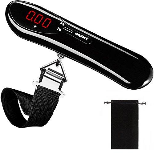 Digitale Kofferwaage, DeFe Tragbare Gepäckwaage mit LCD-Anzeige Auto-Lock und Tara-Funktion Travel Hängewaage für Reise Koffer Familienleben bis 50KG / 110 Pfund (Schwarz)