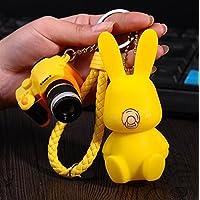 Hard Bone Schlüsselanhänger, Motiv: Bunny, aus hartem Knochen, mit Glocke, Gelb