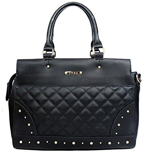 LYDC Elegante Damen Shopper Tasche Schultertasche gesteppt groß - Stepptasche Henkeltasche Kunstleder Farbauswahl, Farbe:Schwarz (Schulter Vintage Tasche Gesteppte)