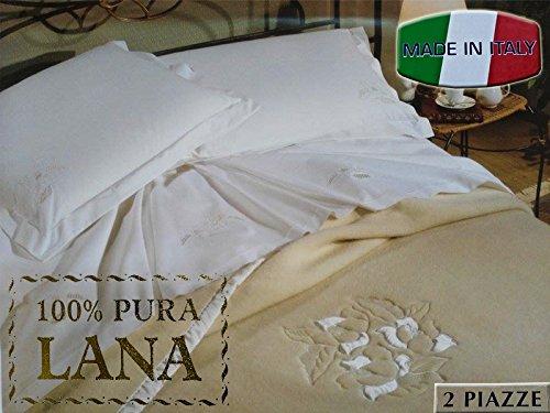 Coperta in pura lana ricamata 2 piazze, beige