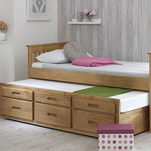 Happy Beds Captains Wooden Waxed Pine Guest Bed Drawers Furniture Frame 3' Single 90 x 190 cm