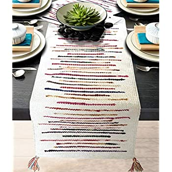 The Home Talk Cotton & Polyester Striped Hand Woven Table Runner, 6 Seater Table Runner, Heat Resistant, Modern Dining Room, Look (13x72 INCH- White)