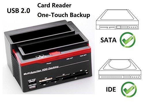 """Ronsen 892U Hard Disk Drive Docking Station -USB 2.0 Dual Puerto Bases de Conexión para Disco Duro 2.5""""/3.5"""" IDE y SATA I/II HDD SSD, con Lector de Tarjetas (SD/XD/SD/TF/MS/M2/CF/MD)"""