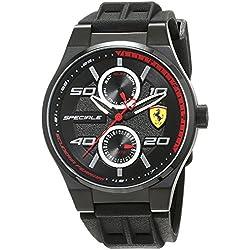 Reloj Scuderia Ferrari para Hombre 0830356, Negro (Negro/Plateado/Rojo)