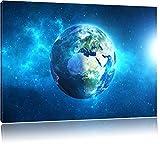 Erde im Universum Format: 120x80 cm auf Leinwand, XXL riesige Bilder fertig gerahmt mit Keilrahmen, Kunstdruck auf Wandbild mit Rahmen, günstiger als Gemälde oder Ölbild, kein Poster oder Plakat