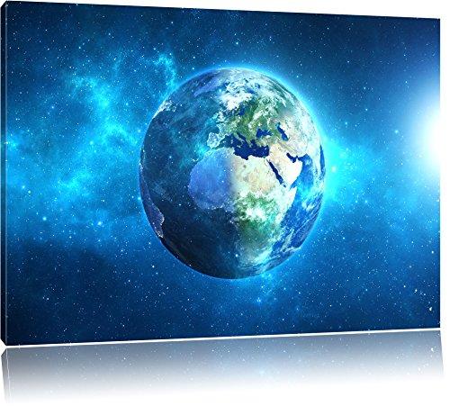 Erde im Universum Format: 100x70 cm auf Leinwand, XXL riesige Bilder fertig gerahmt mit Keilrahmen, Kunstdruck auf Wandbild mit Rahmen, günstiger als Gemälde oder Ölbild, kein Poster oder Plakat -